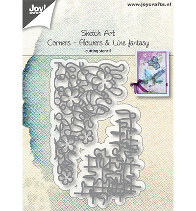 2 Stanzschablonen Sketch Art - Corners - Flowers & Line fantasy